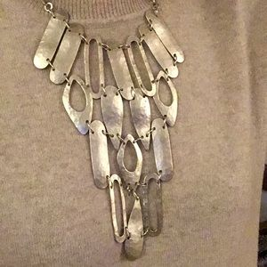 statement silver tone necklace
